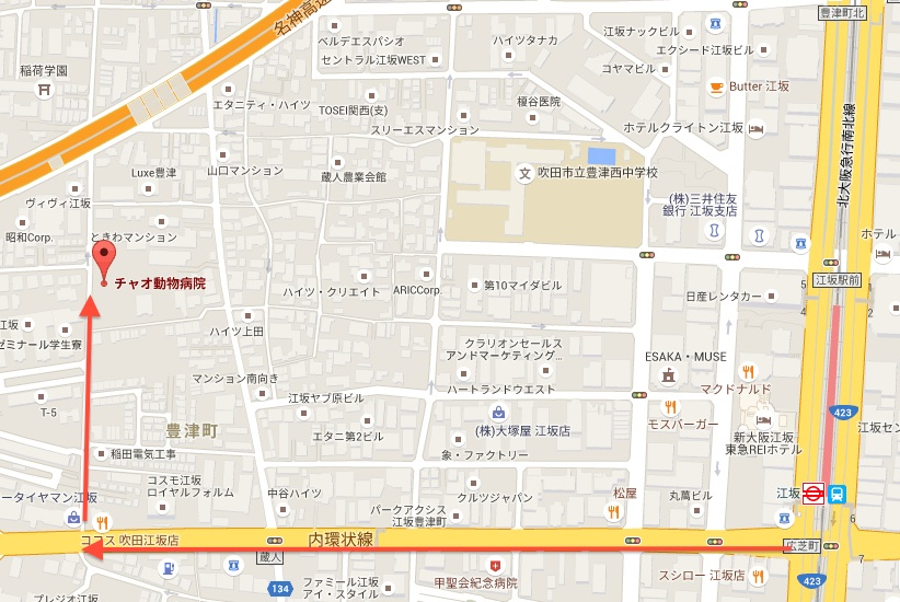 江坂駅から